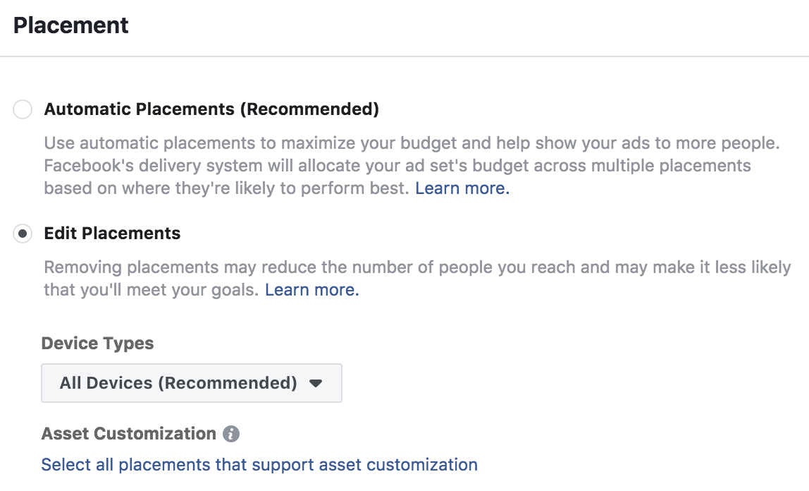 Facebook Ad Placement Settings for Instagram