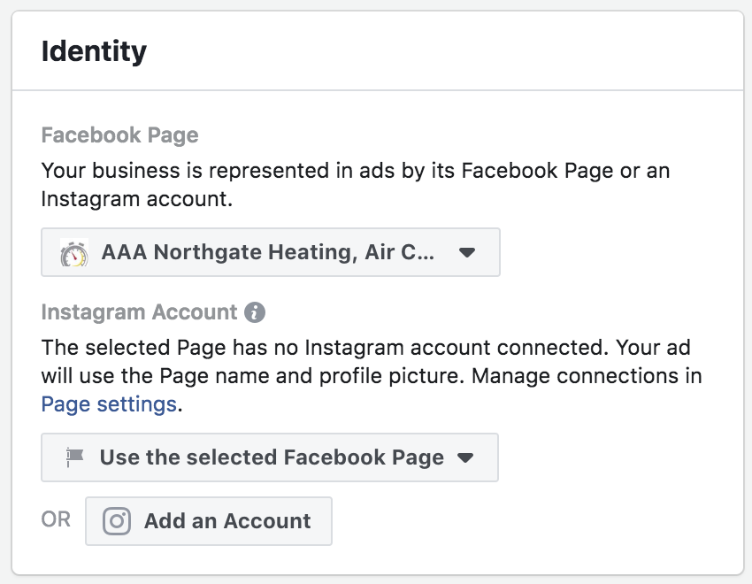 Company Identity Settings Under Facebook Ads Manager (for Instagram)