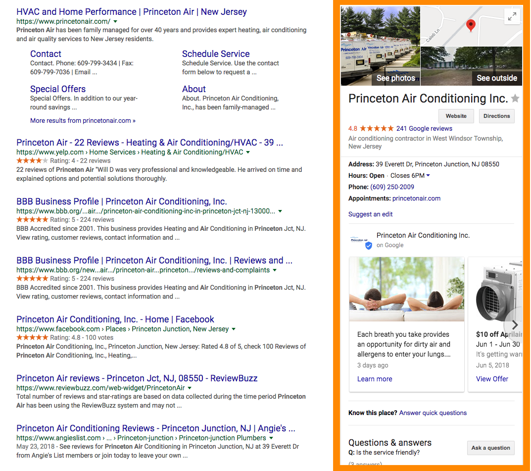 screen shot of Google Knowledge Panel
