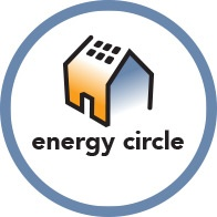 new energy circle logo with sans serif font and solar panels