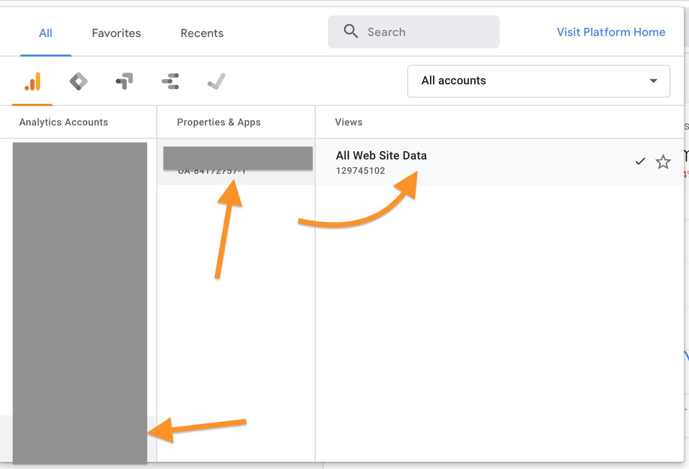 account < property > view google analytics screen capture