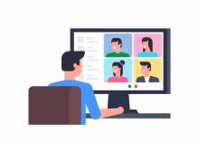 vector image of man conducting video chat on computer