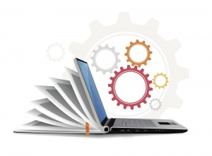 vector of laptop as guidebook with cogs floating above indication how something works