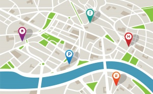 fold out map vector with navigation pins