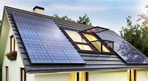 solar panels on modern house roof