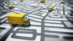 yellow delivery truck on route map vector
