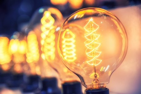 old-fashioned lightbulbs with filament