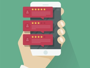 Internet Reviews illustration on a mobile phone