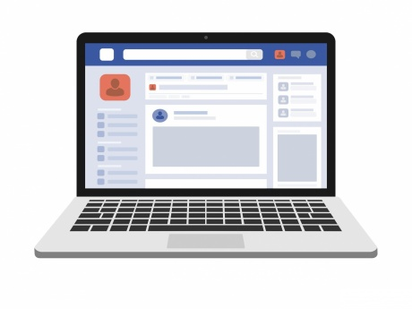 illustration of facebook on laptop screen