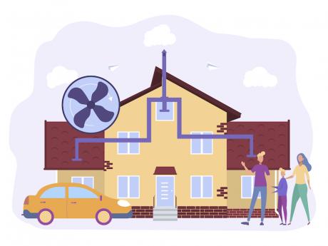 illustration depicting a home's ventilation system