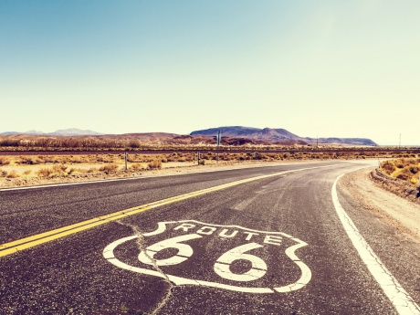 route 66 painted on highway asphalt