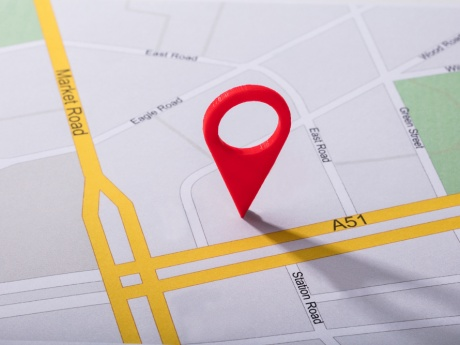 location pin on flat map