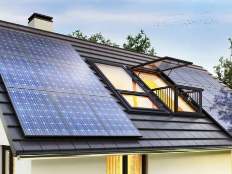 solar panels on modern house roof