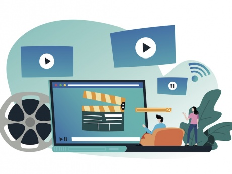 vector illustration depicting streaming video channels